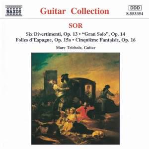 Sor: Six Divertimenti, Gran Solo, Folies d'Espagne & other guitar works Product Image
