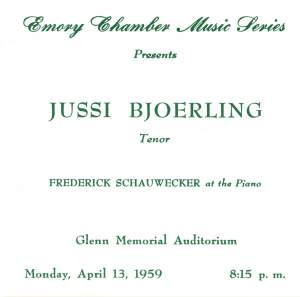 Jussi Bjorling: Atlanta Recital April 1959