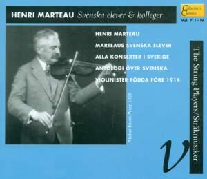 Henri Marteau: Swedish Students & Colleagues