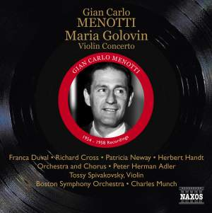 Menotti: Maria Golovin & Violin Concerto