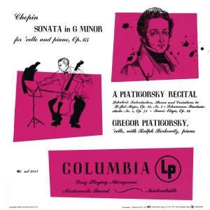 Piatigorsky Plays Chopin, Schubert, Schumann & Fauré