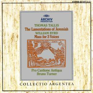 Tallis: Lamentations of Jeremiah, Byrd: Mass for 3 Voices
