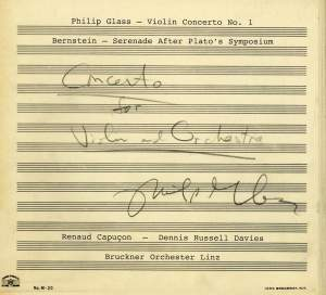 Glass: Violin Concerto No.1 & Bernstein: Serenade after Plato's Symposium