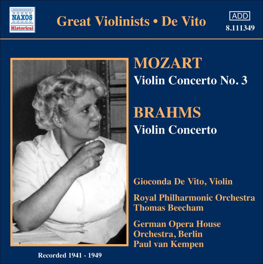 Gioconda De Vito Plays Mozart Brahms Naxos 8111349 Cd